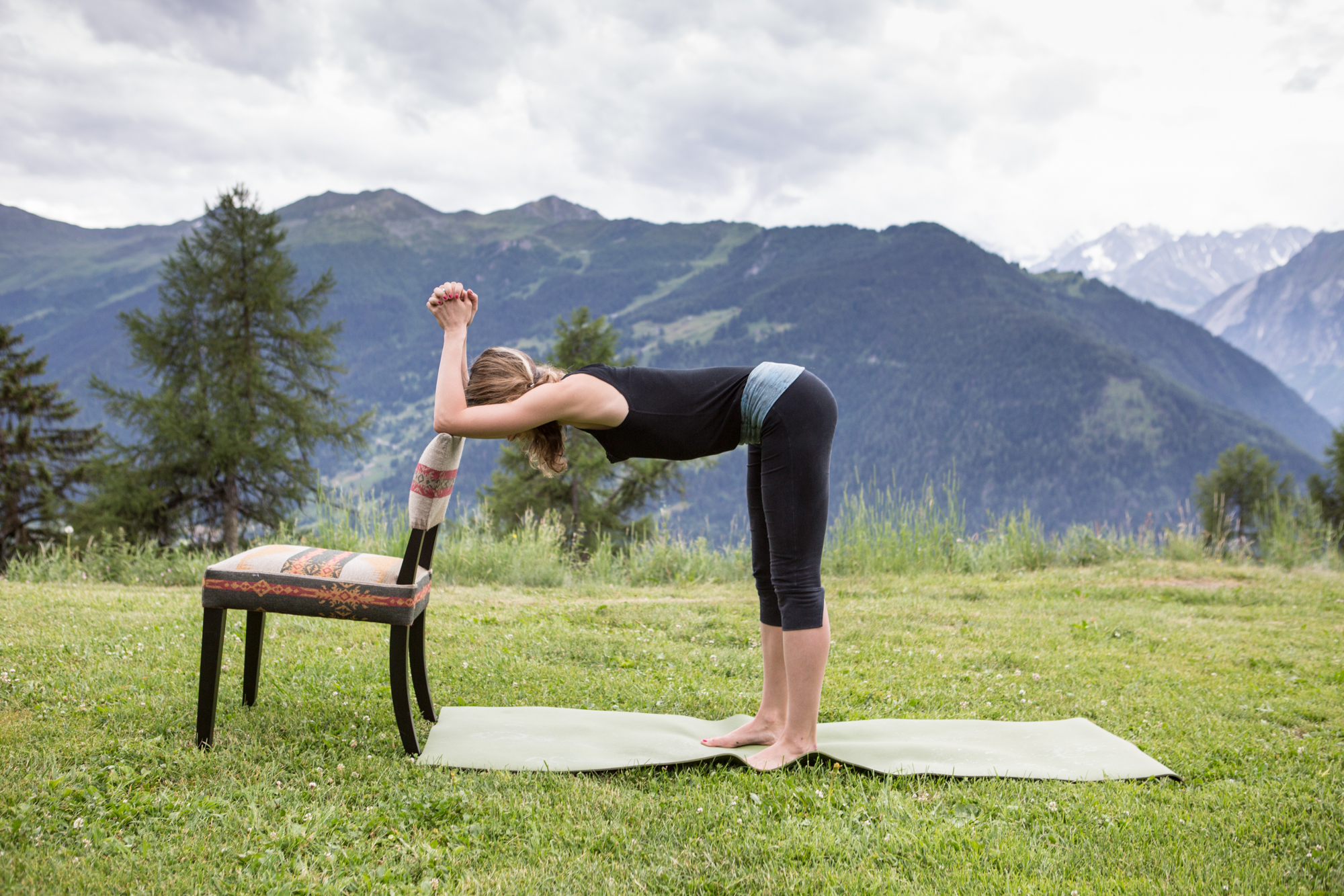 2 Forward Bend with Chair (Elbows)